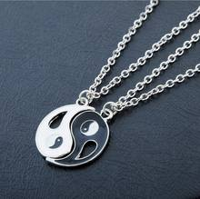 2 pcs/set Fantastic Best Friends Ying Yang Necklaces Taiji Bagua Charm Pendant Jewelry for Lovers colar masculino drop shipping