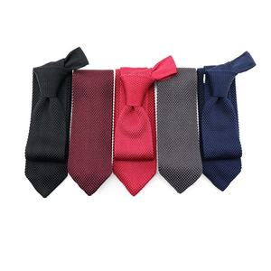 Low MOQ Five Color Available High Quality Pure Silk Solid Neckties Custom Design Knitted Ties in Stock