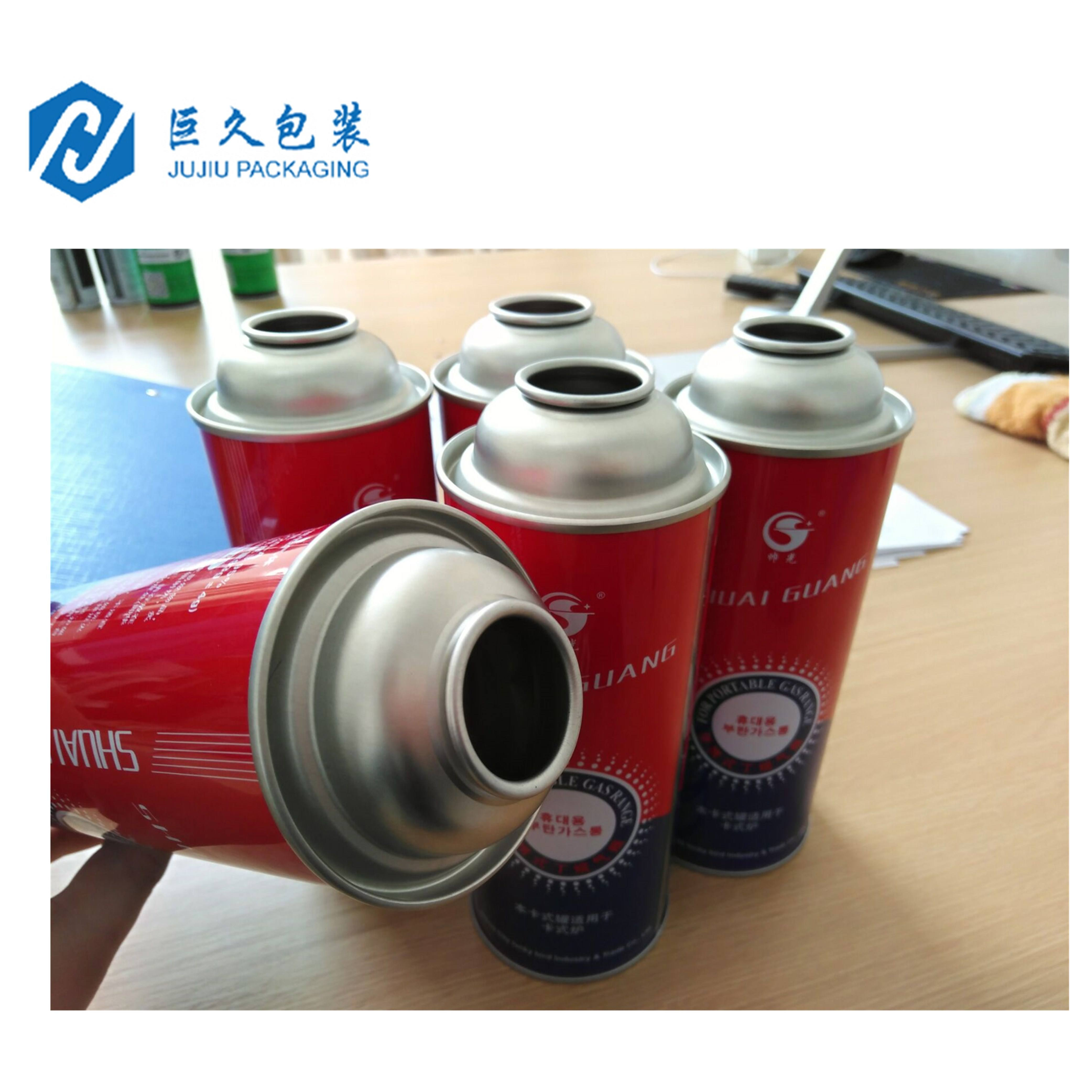 Factory Custom Logo Diameter 100-300Ml Tin Aerosol Gas Straight Kan Metalen Refill Butaan Bus