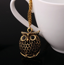 HM13 New Hot Vintage Women Golden Antique Silver Bronze Charm Owl Pendant Long Sweater Chain Jewelry