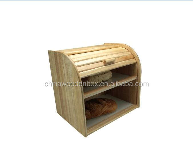 Best-selling wholesale rubber wood bread bin