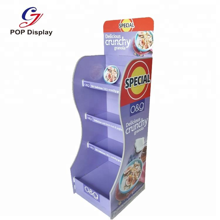 Supermarket Cardboard Display Stand For Retail, Paper Display Rack For Product Promotion , Custom Cardboard Display Stand