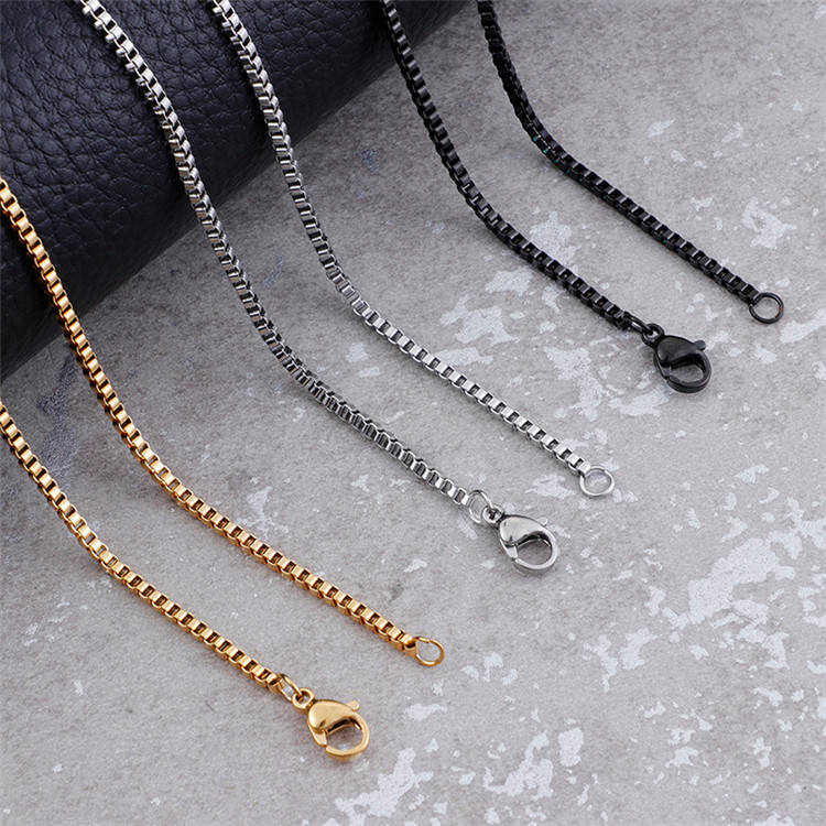 Accessories jewelry custom size 316L stainless steel necklace chain bulk metal box chain for pendant