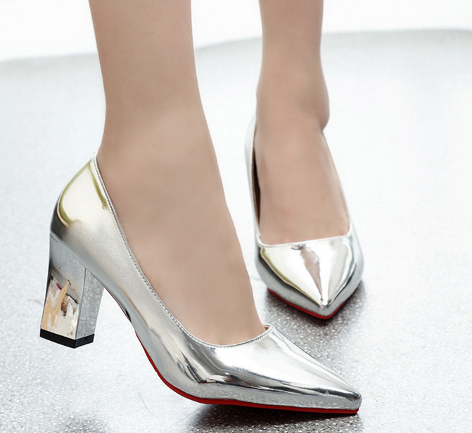 New Spring and Summer latest design fashion cusp elegant gold silver high-heel shoes