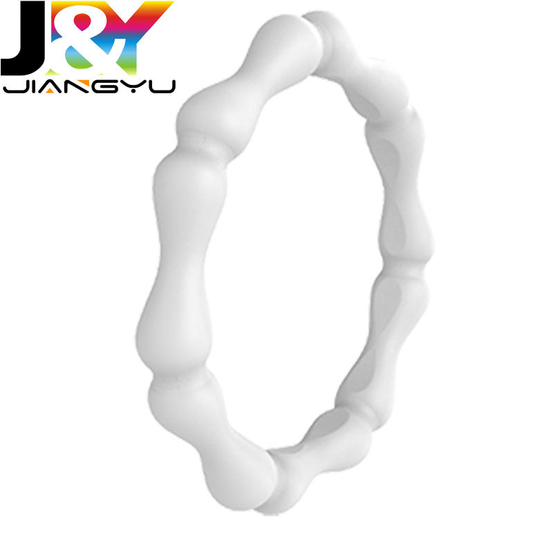 bamboo Silicone Wedding Ring for Women-Stackable Thin Rubber Wedding Bands