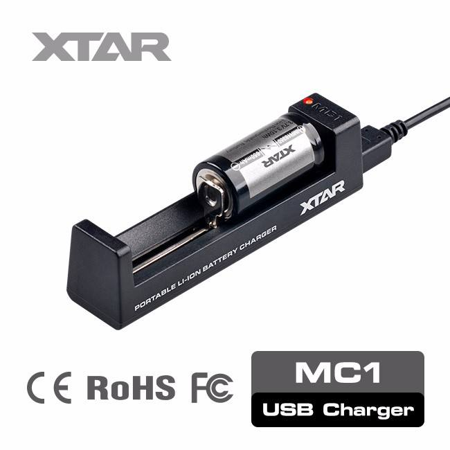 XTAR Best seller uno slot MC1 3.6 v/3.7 v 1 celle li-ion caricabatterie 18650