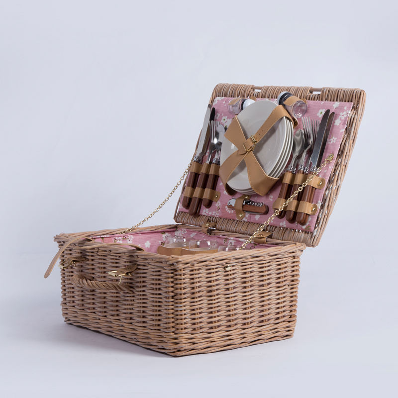 Handwoven wilg rotan craft supply roze rieten picknickmand