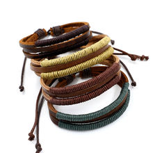 Fashionable jewelry simple hand made multi layer woven leisure leather bracelet