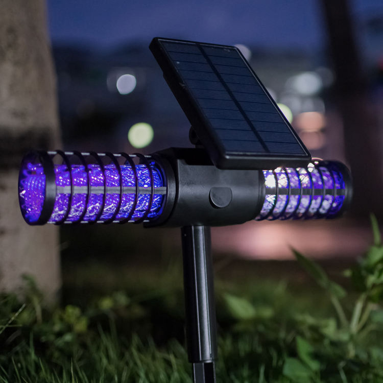 Outdoor Insect Fly Bug Pest Zapper Solar Mosquito Killer LED Lamp Garden Light with double anti mosquito lamp