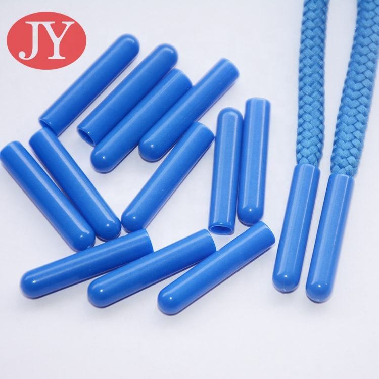 Blue Color plastic aglet Anti Brass Electroplated Plastic custom shoelace tips for drawcord