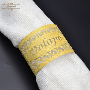 Luxury glitter gold laser cut wedding party napkin holder rings