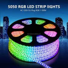 5050SMD AC 110V RGB Multi Color Changing Flexible LED Strip Light IP67 Waterproof Outdoor LED Flat Rope Light LED Strip