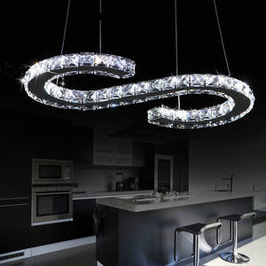 Modern Chandelier Lighting Crystal + Stainless Steel Material Support Dimmer Indoor Decorative Hanging Lamp Pendant Light