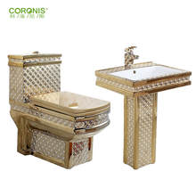 Bathroom design luxury decorative gold plated toilet commode