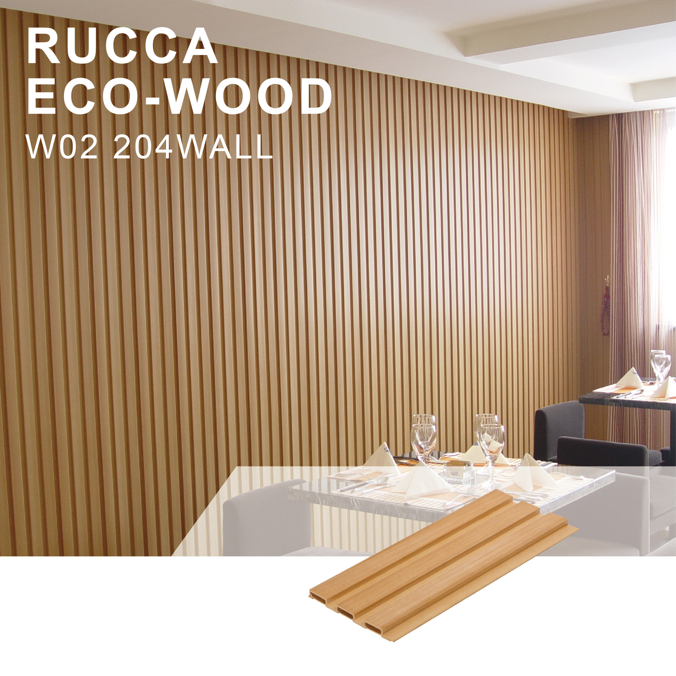 Rucca WPC/Wood PVC Plastic Composite Creative Home Decorative Wall Panel 204*16mm