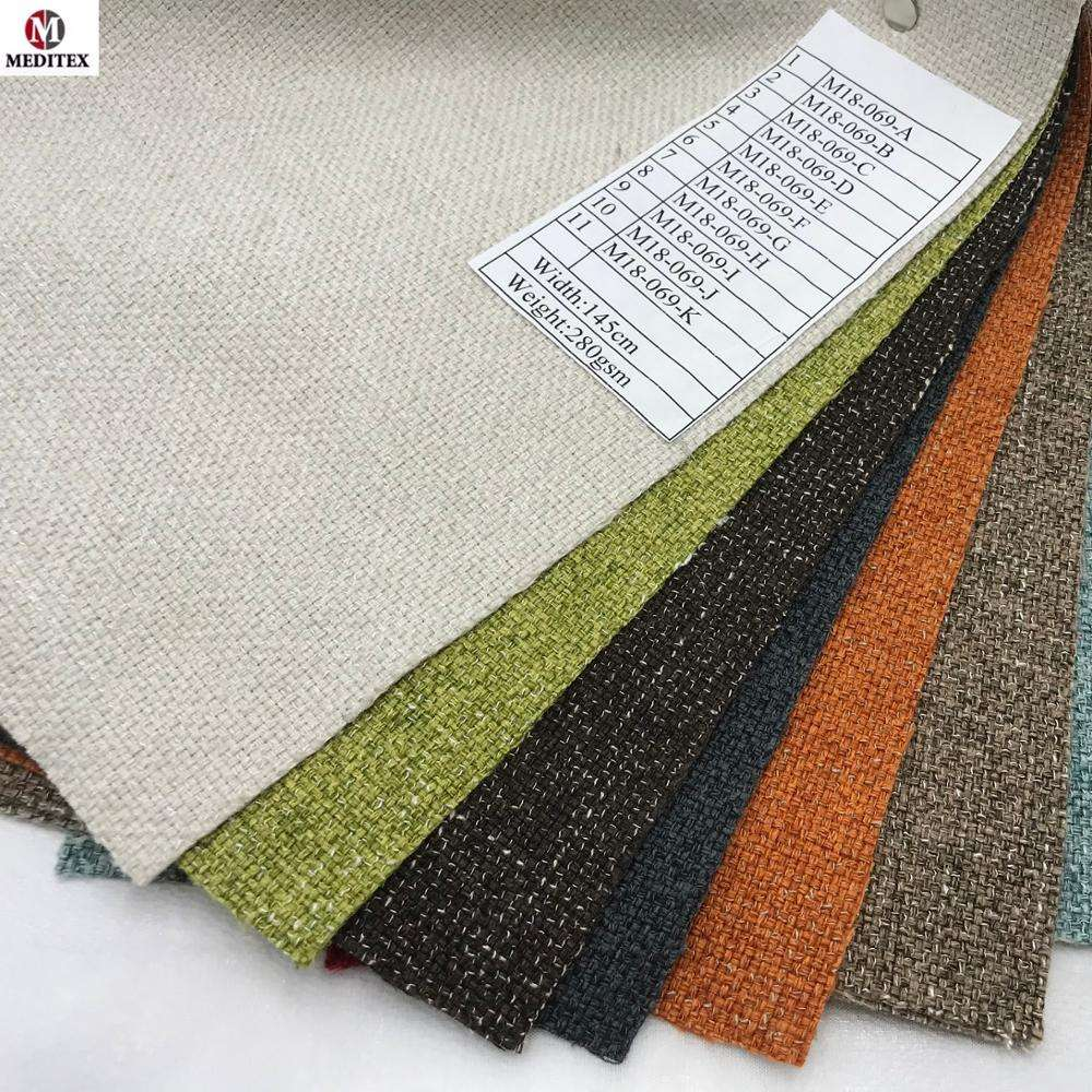 2019 hotsale 100% polyester linen look fabric/furniture fabric/linen look fabric for sofa M18-069