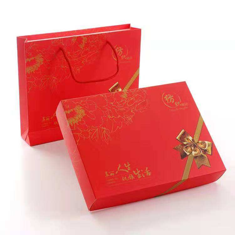 Customized product packaging matte Chinese red paper gift boxes