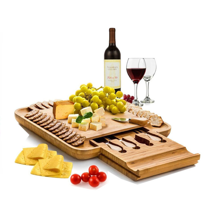 Bamboo Cheese Board And Knife Set Wooden Chopping Board With Compartment Bamboo Cutting Board With Storage Box