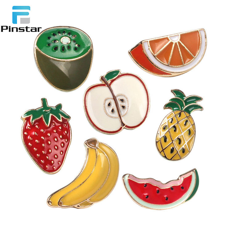 Fruit Shape Pins Banana Apple Orange Watermelon Shirt Collar Enamel Brooch Pin