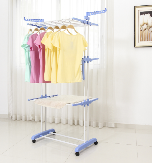 Amazon hot sell 3 tier cloth hanger rack laundry racks for cloth hanging garment movable metal cloth rack