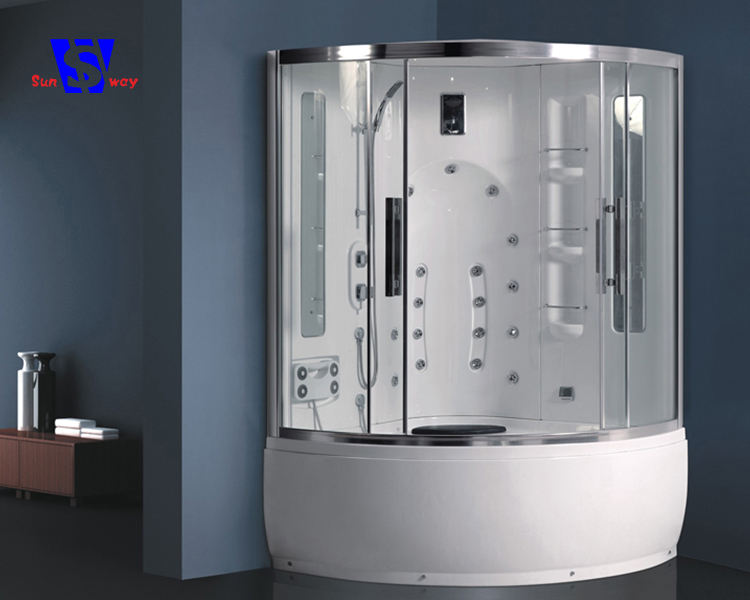 Sector 135x135cm Customize Whole Shower Room Aluminium Alloy Shower Cabin With Whirlpool Bathtub