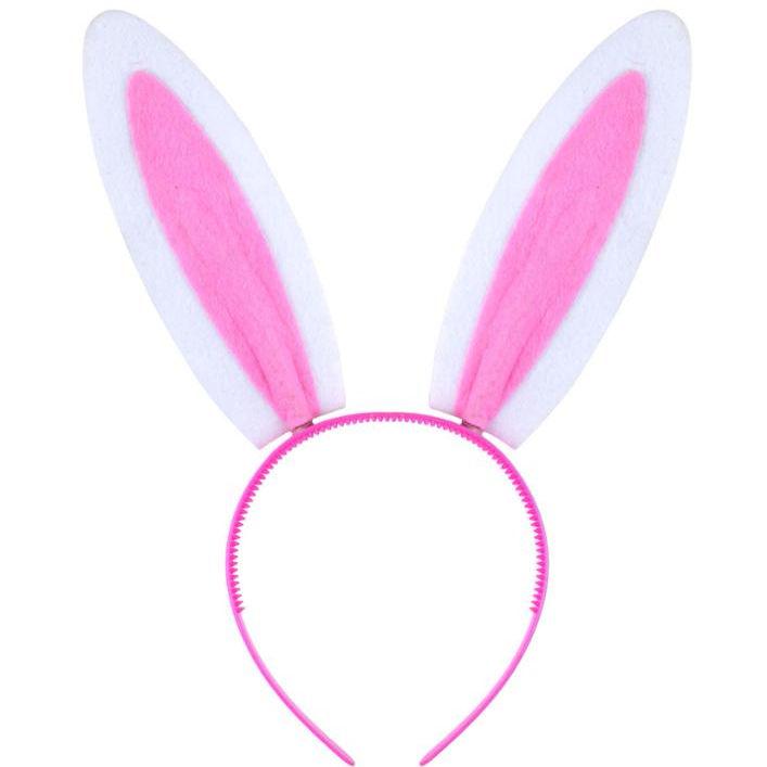NEW Pink furry fabric bunny ears aliceband headband easter hen do fancy dress
