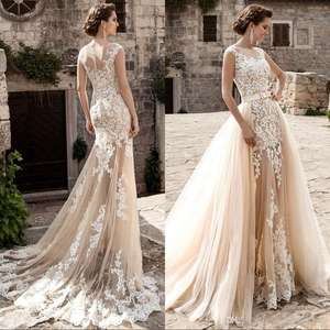 AC-1048 Latest Sexy Boat Neck Mermaid Lace Wedding Dress with Removable Skirt
