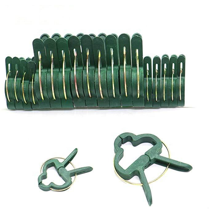 Green Plastic Garden Support Spring Clips