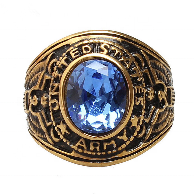 Retro Jewelry Men's 316l Stainless Steel United States US Gold Plated Blue Stone Military Army Ring