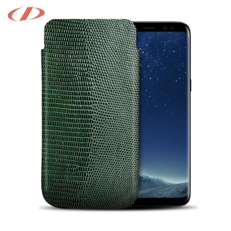 Anti-scratch thằn lằn XANH leather case cho galaxy s8 leather lizard trường hợp