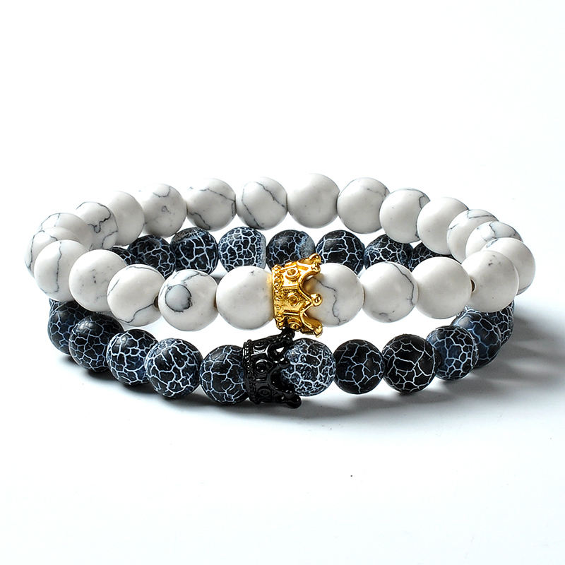 F130 8mm Natural Stone Beads Trendy Valentine Rhinestone Fancy Lovers Charm Crown King and Queen Friendship Bracelets
