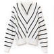 Women's autumn winter cotton cashmere knitted V-neck striped pullover sweater