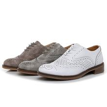 2019 new arrivals fashion casual women derby oxfords shoes round toe flats pu lace up ladies slip on shoes brogue british style