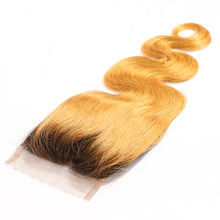Luxefame Hair Ombre 1B-27 4*4 Swiss Lace Closure Brazilian Body Wave 130% Density Remy Human Hair 8''-20