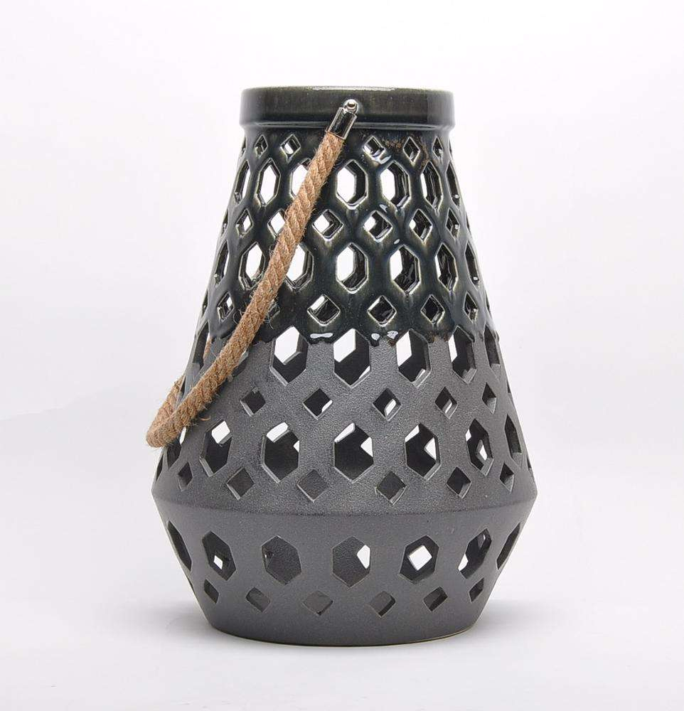 Courtyard classic engraved arabic gifts crafts ceramic black grave lantern with handle