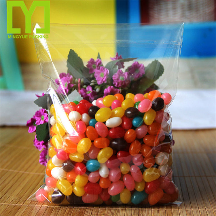 Clear Custom Printed Flat Opening Factory transparent plastic candy opp bags