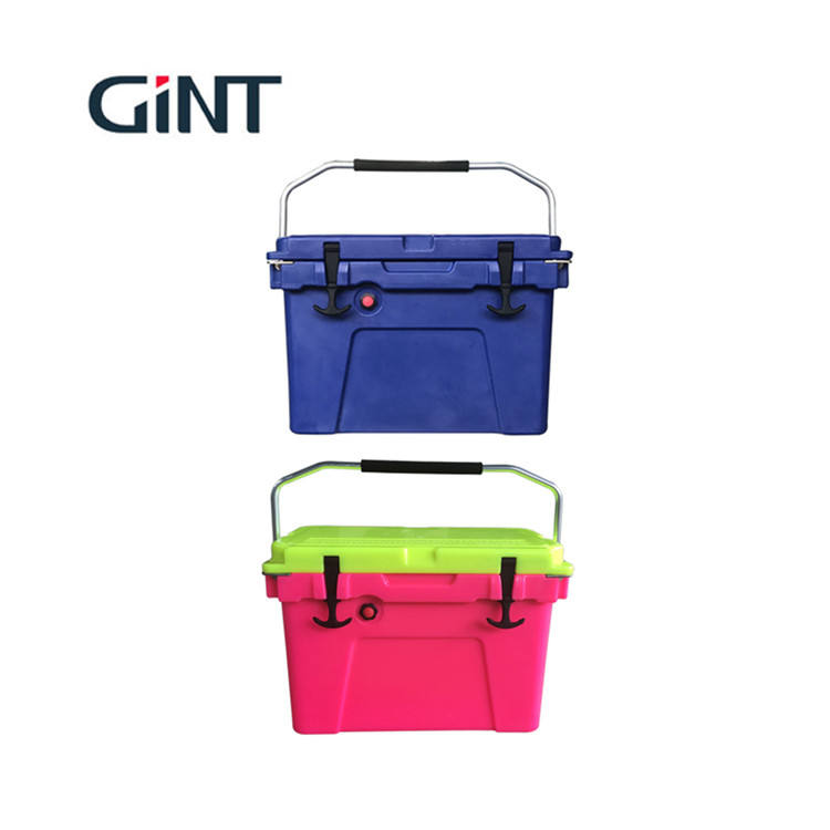 wholesale 28l camping ice cooler box fish picnic with customized logo and hand lever