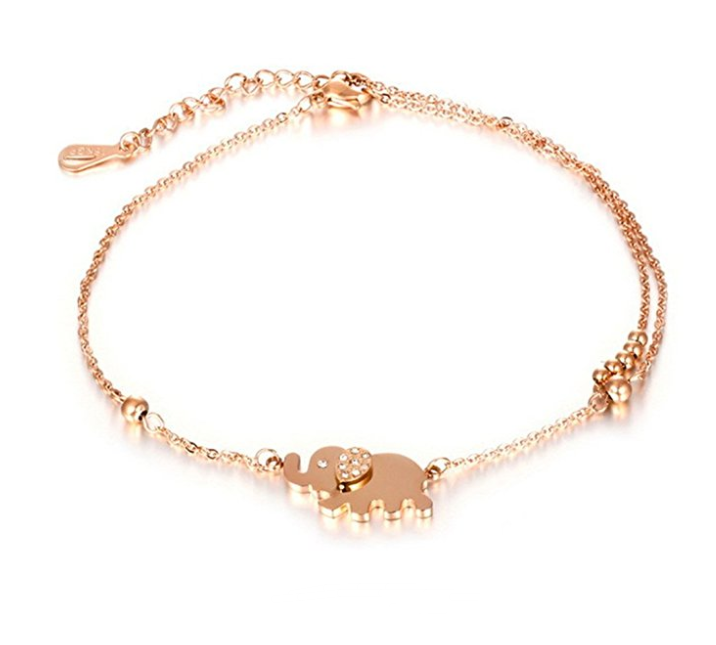 OEM Elephant Woman Anklets Fashion Rose Gold Color Stainless Steel Women Link Chain Jewelry Bracelets Best Gift
