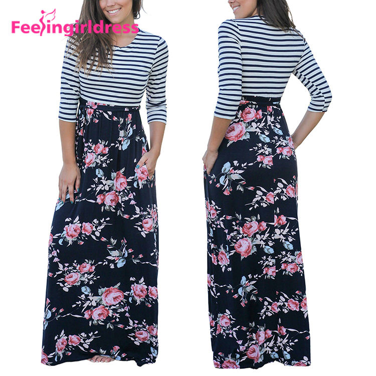 Fashion High Quality Plus Size Casual Long Sleeve Floral Print Striped Top Women Maxi Dress