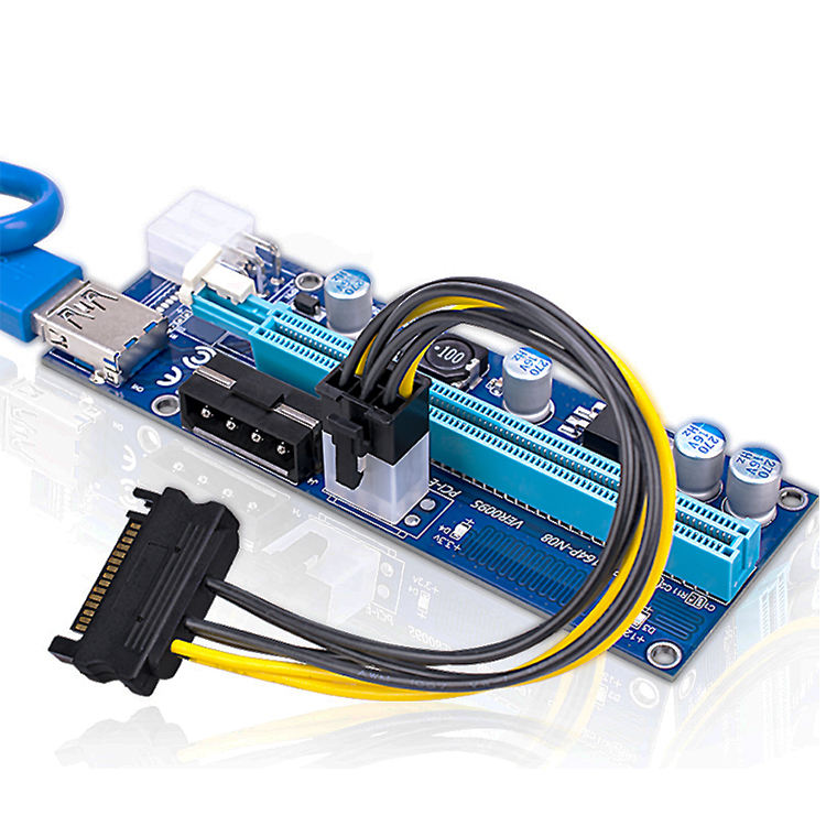 pcie x1 to x16 rise PCIE Riser Cable PCI-E 6Pin USB3.0 Bitcoin Litecoin ETH VER 006C 007 008s 009s support GXT1080TI 1050TI