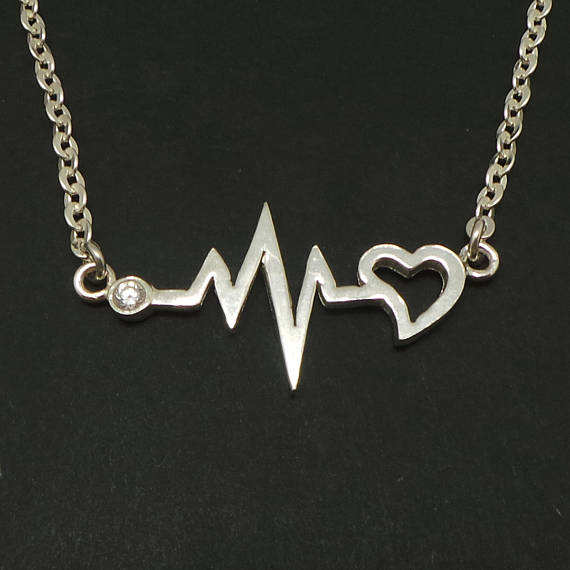 Silver Heartbeat Nurse Necklace Choker Wholesale Stainless Steel Inspirational Gift