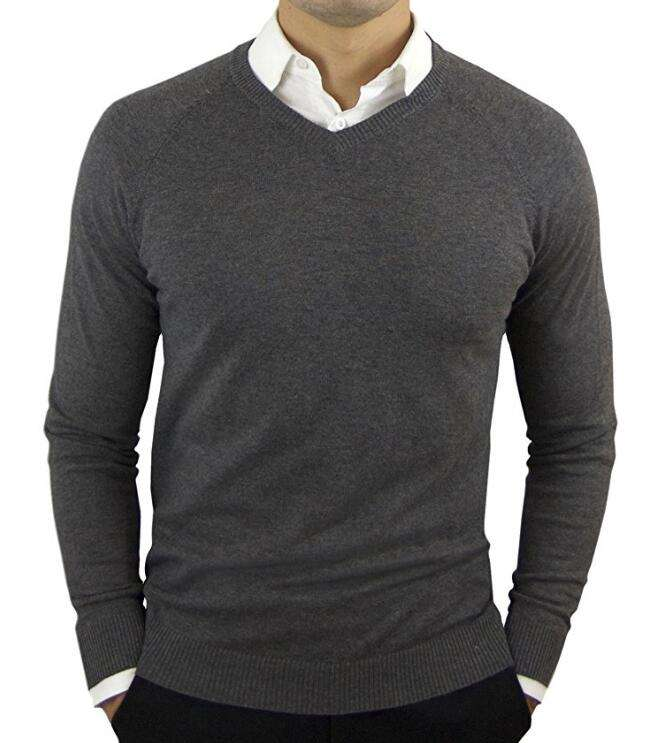 OEM Bulk Knitted Custom Plain Pullover Cotton Jumper V-Neck Slim Fit Thin Blank Men Sweater
