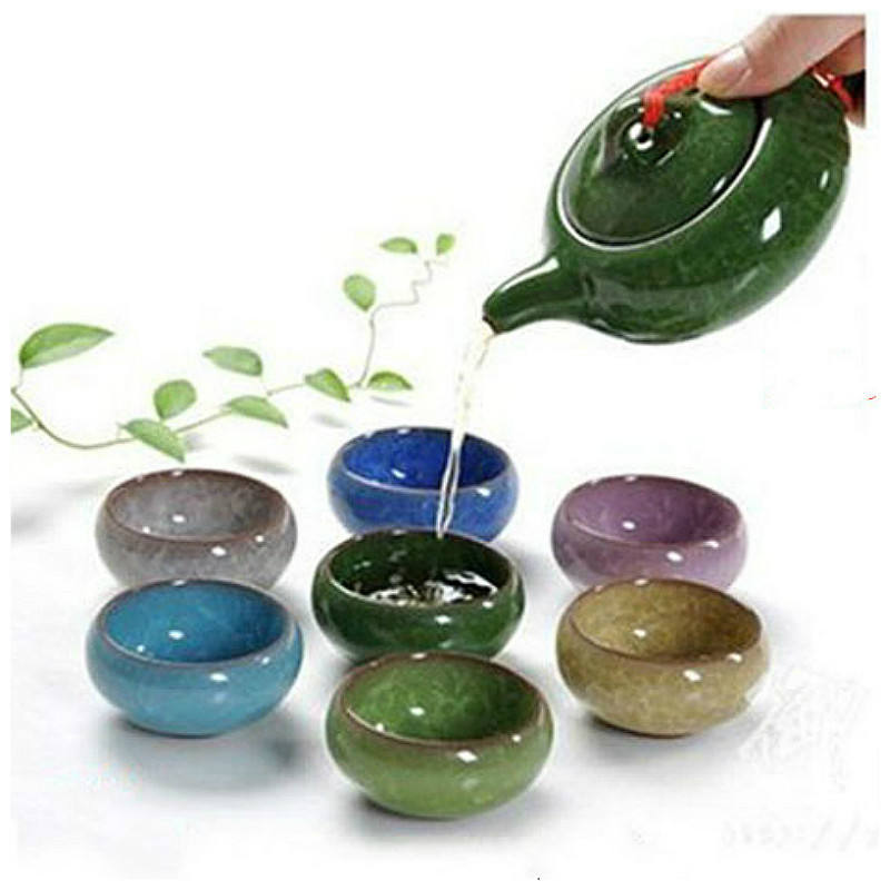 7 Buah/Set 150 Ml Porselen Tea Set Keramik Cina Kung Fu Teko Buatan Tangan Es Retak Glasir Teko Set 7 Warna