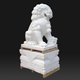Outdoor hand carved decorative life size stone white marble lion pair sculpture