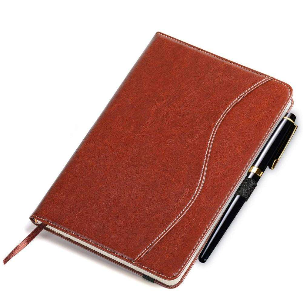Thick Classic Notebook with Pen Loop A5 Wide Ruled Hardcover Writing Notebook with PocketPage Dividers Gifts