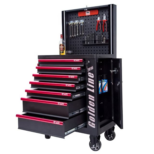 China supplier cheap metal tool cabinet roller tool box with bluetooth speaker&lifting plate