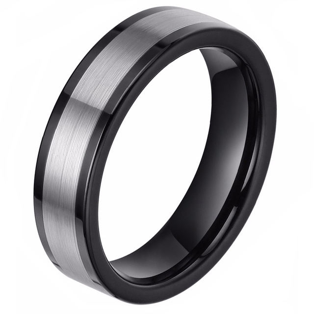 Silver Black 6mm Tungsten Carbide Ring Fashion Finger Jewelry Party Rings Men Women Wedding Band anel masculino