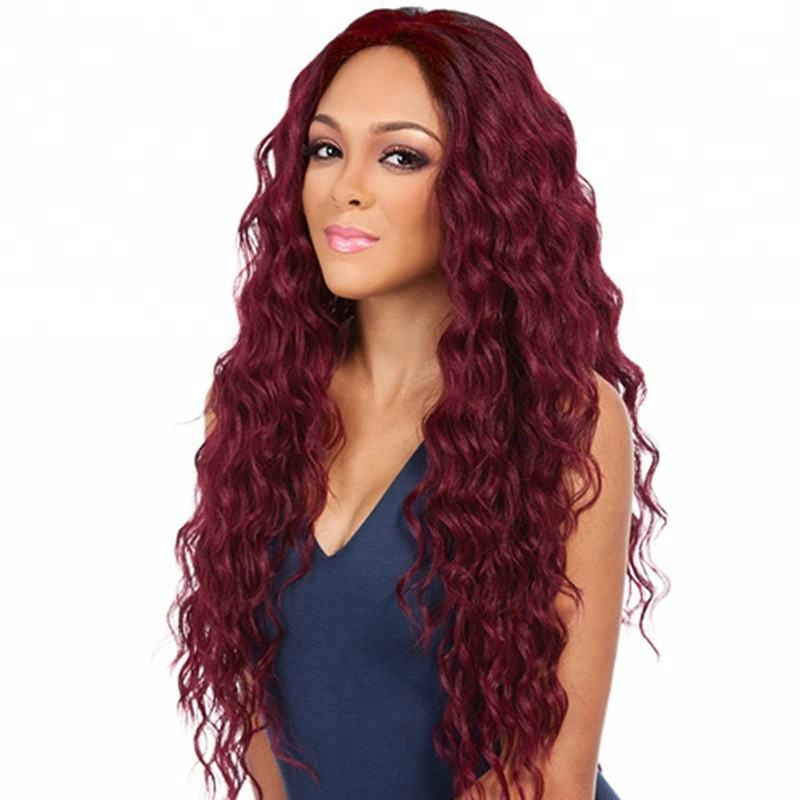 Wholesale 24 icnh deep body wave 8a grade virgin brazilian hair burgundy full lace wig