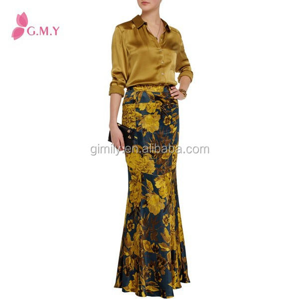 Golden flower printing indian women long mermaid skirt pattern