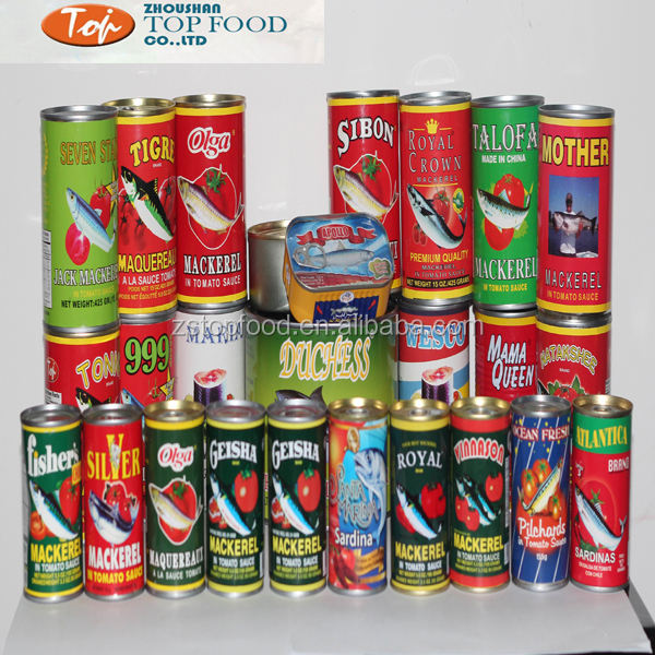 natural canned food fish mackerel in brine in tomato sauce home use or restaurant use